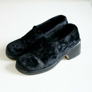 RAS Velvet and Leather Square Toe Stacked Shoes